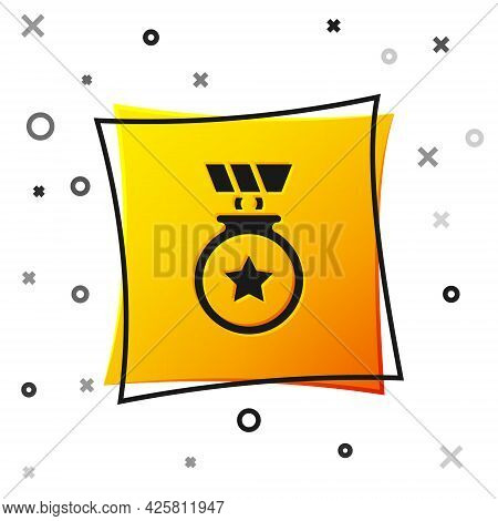 Black Medal With Star Icon Isolated On White Background. Winner Achievement Sign. Award Medal. Yello