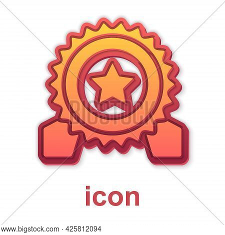 Gold Medal With Star Icon Isolated On White Background. Winner Achievement Sign. Award Medal. Vector