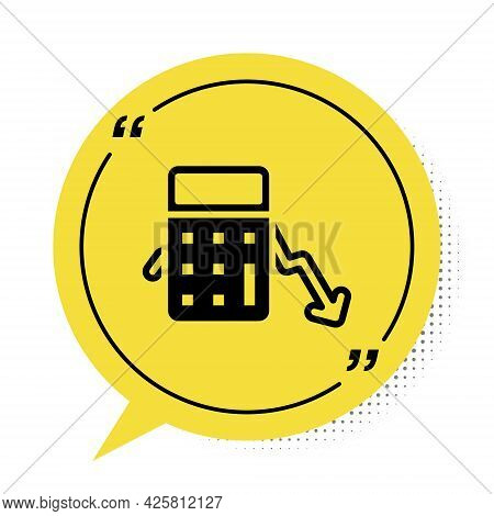 Black Calculation Of Expenses Icon Isolated On White Background. Yellow Speech Bubble Symbol. Vector