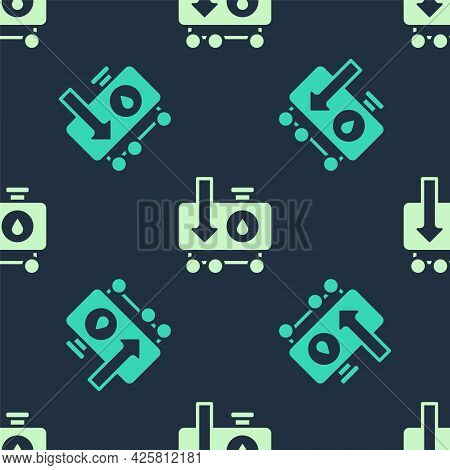 Green And Beige Drop In Crude Oil Price Icon Isolated Seamless Pattern On Blue Background. Oil Indus
