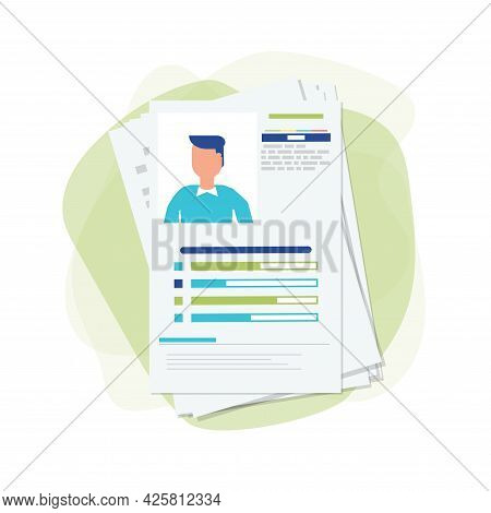 Curriculum Vitae Papers With Personal Info And Picture. Cv And Selection Of Candidates Concept. Recr