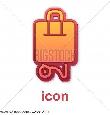Gold Suitcase For Travel Icon Isolated On White Background. Traveling Baggage Sign. Travel Luggage I