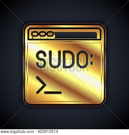 Gold Code Terminal Icon Isolated On Black Background. Browser Window With Command Line. Command Pane