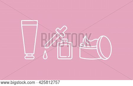 Cosmetic Bottle And Cream With Pipette Icon. Pharmacy Concept. White Outline On Pink Background. Tre