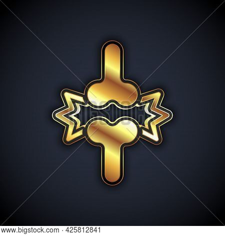 Gold Joint Pain, Knee Pain Icon Isolated On Black Background. Orthopedic Medical. Disease Of The Joi