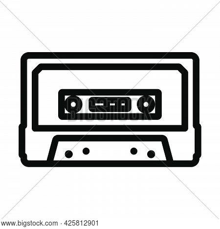 Audio Cassette Icon. Bold Outline Design With Editable Stroke Width. Vector Illustration.