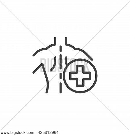 Spine Healthcare Line Icon. Linear Style Sign For Mobile Concept And Web Design. Spine Medicine Outl