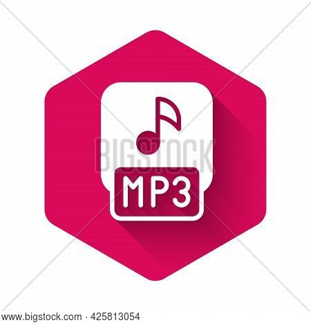 White Mp3 File Document. Download Mp3 Button Icon Isolated With Long Shadow Background. Mp3 Music Fo