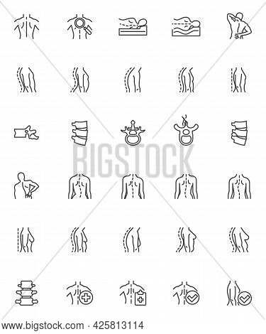 Spine Backbone Line Icons Set. Linear Style Symbols Collection, Outline Signs Pack. Orthopedic Rehab