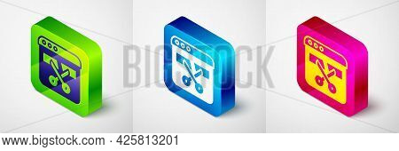 Isometric Video Recorder Or Editor Software On Laptop Icon Isolated On Grey Background. Video Editin