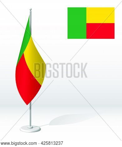 Republic Of Benin Flag On Flagpole For Registration Of Solemn Event, Meeting Foreign Guests. Nationa