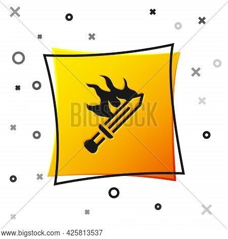 Black Sword For Game Icon Isolated On White Background. Yellow Square Button. Vector