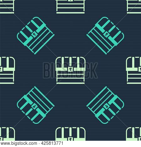 Green And Beige Antique Treasure Chest Icon Isolated Seamless Pattern On Blue Background. Vintage Wo