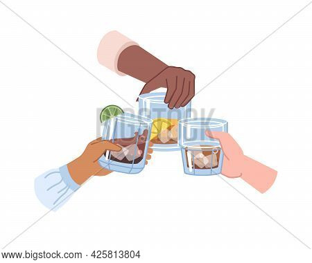 Hands Holding Strong Drinks In Glasses, Alcoholic Beverages With Ice Cubes. Cognac Or Whiskey, Brand