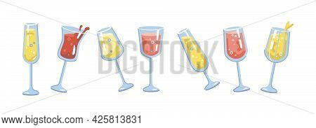 Drinks And Cocktails In Glasses, Isolated Alcoholic Beverages Set. Sparkling Wine And Fizzy Bubbly C