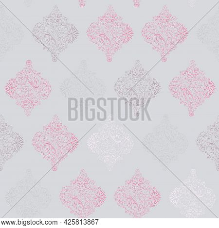 Vector Monochromatic Moroccan Floral Tiles On Gray Seamless Pattern Background. Perfect For Fabric,