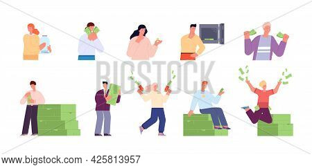Rich People Characters. Happy Person Saving Money, Banking Finance Businessman. Cash Millionaire, Lo