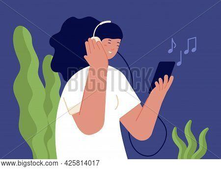 Girl Listen Music. Person In Headphones, Cartoon Woman Listening Audiobook Or Podcast On Phone. Teen