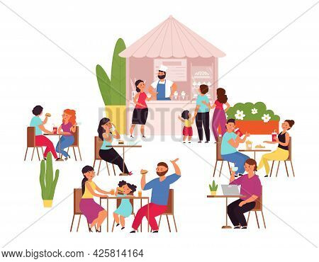 Outdoor Cafe. Summer Park Table, Girl Drinks Coffee. Food And Conversation, Flat Couple Lunch In Res