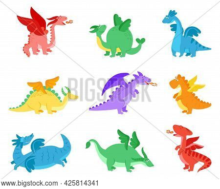 Cartoon Dragons. Fairy Tale Dragon, Funny Reptile With Wings. Cute Flying Monster. Colorful Baby Mag