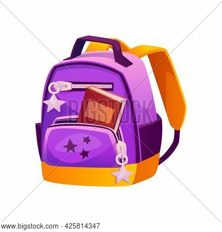 School Satchel For Girl, Feminine Design Of Satchel With Open Pocket And Stars Accessories. Rucksack