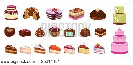 Cartoon Sweets. Cake Candy Chocolate Biscuit. Isolated Pieces Of Birthday Cakes. Dessert Isometric I