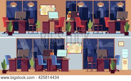 Empty Office Interior. Night Business Interiors, Coworking Zone Or Manager Room. Table With Computer