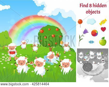 Find Hidden Objects. Kids Puzzle Game With Sheep On Meadow. Fun Brain Teaser Looking Different Items