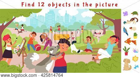 Hidden Objects Puzzle Game. Find Object, Children Lifestyle In Park. Fit Kids, Resting On Nature Wit