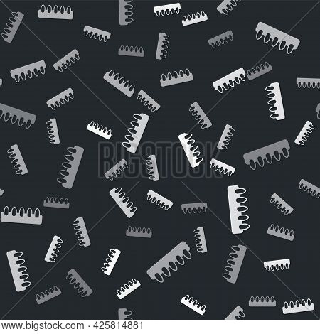 Grey Set Of False Nails For Manicure Icon Isolated Seamless Pattern On Black Background. Varnish Col