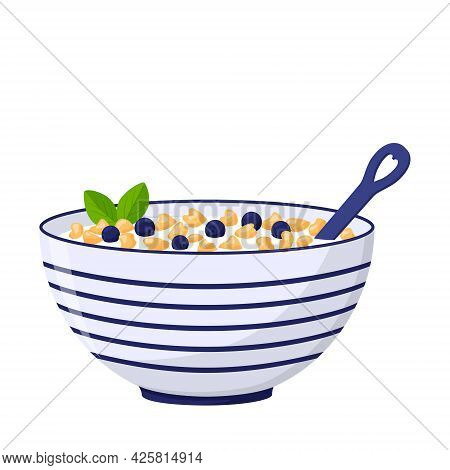 A Deep Bowl With Porridge, Oat Flakes And Blueberries. A Healthy Breakfast. Food, Dairy Product. Fla