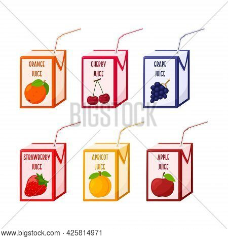 A Set Of Different Juices In A Cardboard Box With A Straw. Fruit And Berry Juices. Baby Food, Fresh