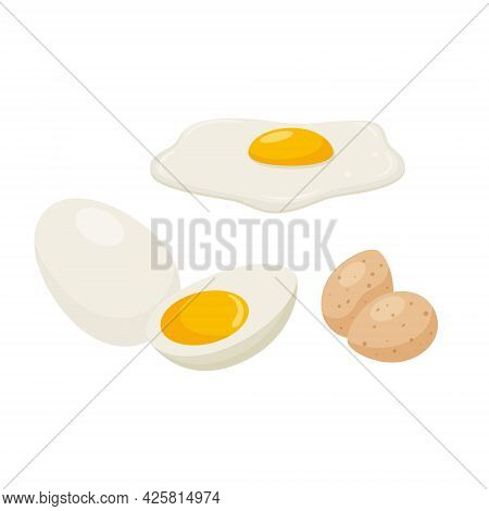 Fried Eggs, Raw And Boiled Eggs. Boiled Chicken Egg, Quail Eggs. Egg With Yolk. A Food Ingredient, A