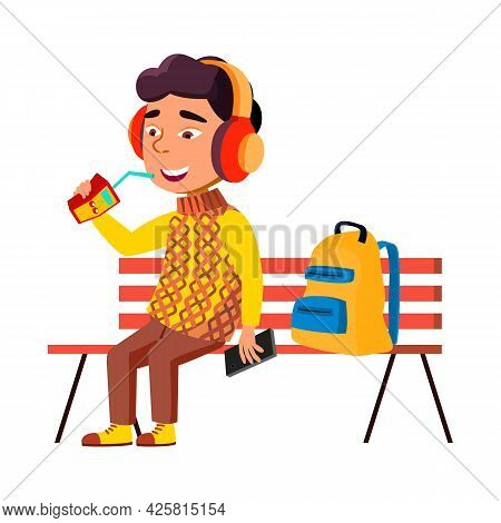 Boy Kid Sitting On Bench And Drink Juice Vector. Asian Preteen Infant Listening Music In Park And Dr