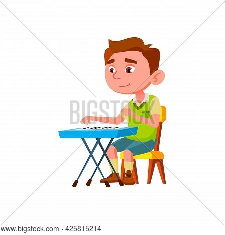 Boy Child Artist Playing Melody On Piano Vector. Caucasian Kid Play Classical Music On Piano Musicia