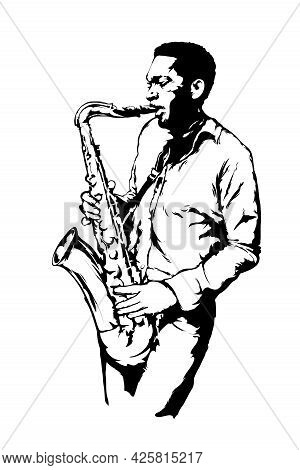 Jazz Man With Sax On The White Background