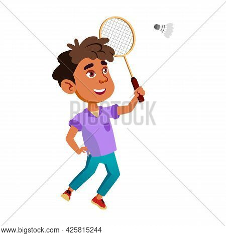 Boy Latin Infant Playing Badminton Game Vector. Hispanic Child Play Badminton Game With Racket And S