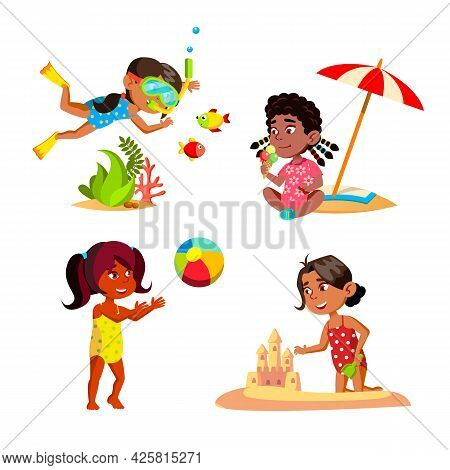 Kids Girl Relaxing On Seashore Beach Set Vector. Children Swimming Underwater And Playing With Ball