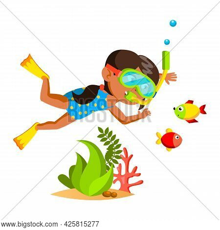 Girl Kid Swimming Underwater In Sea Nature Vector. Hispanic Little Lady Diving With Facial Mask And