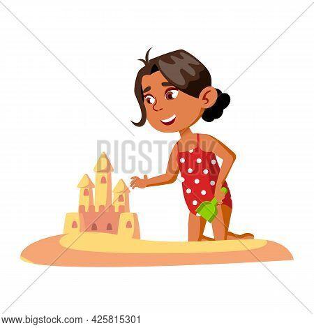 Girl Building Sandy Castle On Beach Seaside Vector. Happy Hispanic Preschool Lady Construct Castle F