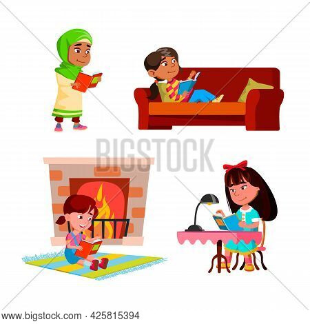 Girls Kids Reading Educational Books Set Vector. Children Ladies Read Interesting Books On Couch And