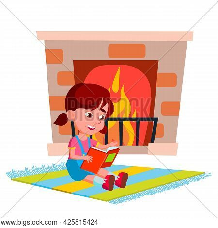Girl Sit Near Fireplace And Reading Book Vector. Child Preteen Lady Sitting On Carpet Near Burning F