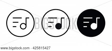 Musical Notation Icon. Illustration Of Music Note Symbol. Classic Melody Sign Flat Design. Chords Li