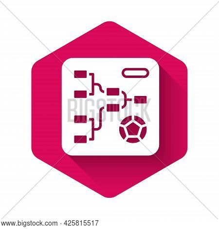 White Results And Standing Tables Scoreboard Championship Tournament Bracket Icon Isolated With Long