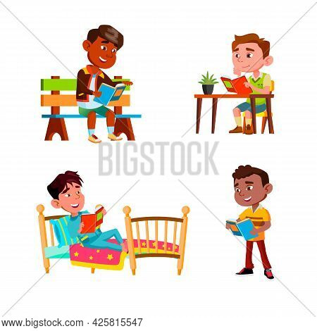 Boys Children Reading Education Books Set Vector. Guys Kids Read Books In Park On Bench And Street,