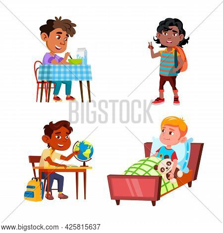 Boys Kids Doing Daily Routine Activity Set Vector. Preteen Schoolboy Waking Up And Eating Breakfast,