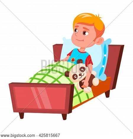 Boy Child Preparing For Sleep In Bedroom Vector. Caucasian Little Schoolboy Laying In Bed With Teddy
