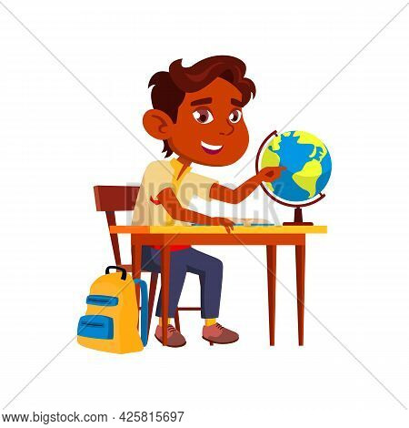 Boy Child Studying On Geography Lesson Vector. Indian Schoolboy Learning Globe On Geography Lesson A