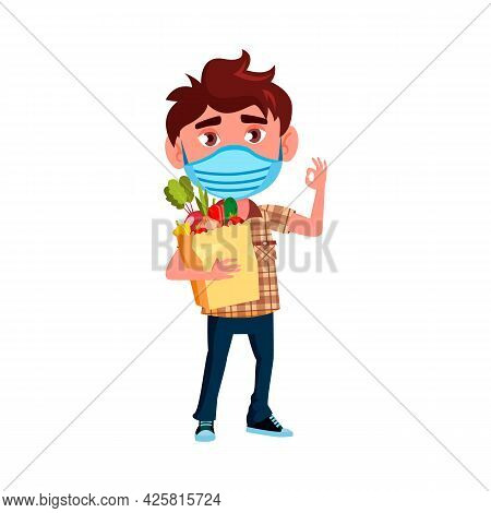 Boy Kid With Facial Mask Holding Food Bag Vector. Caucasian Preteen Schoolboy Wearing Protective Med