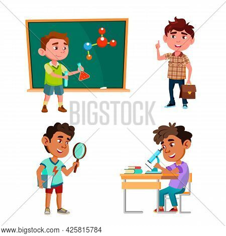 Boys Scientist Education And Research Set Vector. Schoolboy Scientist Researching And Analyzing, Mak